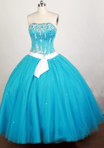 Teal with White Sash 2013 Gorgeous Sweet 15 Dress Cheap