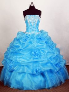 Corset Bodice 2013 Hand Flowers and Pick ups Quinceanera Gown