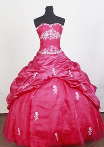 Sweetheart Beaded 2014 Hot Pink Quinceanera Dress Appliqued