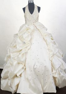 Cute 2013 Halter Beaded Champagne Color Quinceanera Dress Bubbled