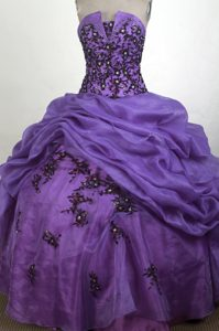 Purple with Black Appliques 2013 Sweet 15 Dress on Sale