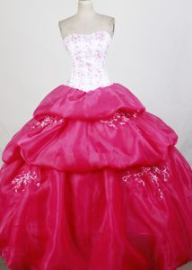 Perfect Bubbled White and Hot Pink Quinceanera Ball Gown Cheap