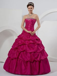 Ruched Fuchsia Ball Gown Sweet Sixteen Dresses with Beading Pick ups