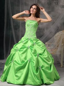 Appliques and Pick ups Accent Sweet Sixteen Dress in Spring Green