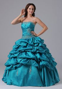 Nezahualcoyotl Mexico Appliqued Teal Sweet Sixteen Dresses 2013