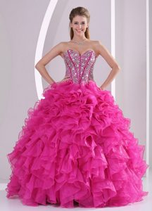 Beaded Bodice Sweetheart Sweet Sixteen Dresses in Hot Pink 2015