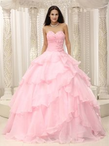 Beading and Ruffled Layers Accent Baby Pink Sweet Sixteen Dresses