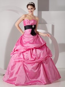 Ruched Hot Pink Sweet Sixteen Dresses with Sash and Pick ups 2013