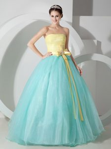 Aqua Blue and Yellow Sweet Sixteen Dresses with Beaded Ribbons