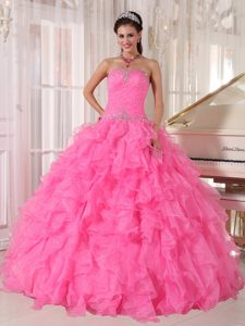 Beading and Ruffles Accent Sweet 15 Dresses in Hot Pink on Sale