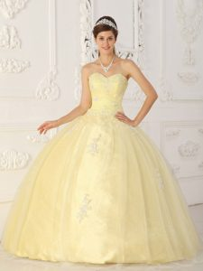 Appliqued Sweetheart Organza Sweet 15 Dresses in Light Yellow