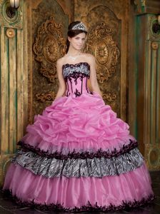 Appliques Pick ups Rose Pink Quinceanera Dress with Zebra Print