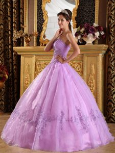 Appliques Accent Floor Length Lavender Quinceanera Dress Organza