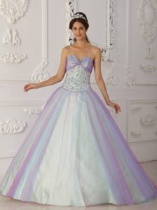 2013 Colorful Tulle Sweetheart Quinceanera Gown Dress with Beading