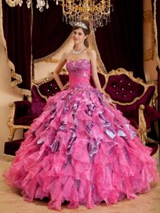 Ruffled and Beaded Hot Pink Quinceanera Gown Dresses Leopard Print