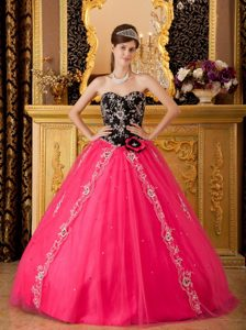 Appliques Accent Quinceanera Gown Dresses in Black and Hot Pink