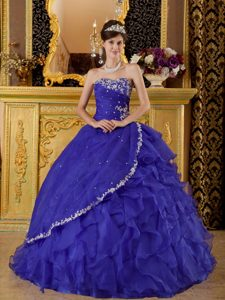 Appliqued and Ruffled Royal Blue Quinceanera Gown Dresses 2014