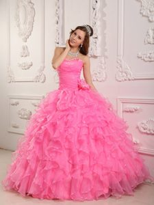 Beading and Puffy Ruffles Accent Quinceanera Gown Dress in Rose Pink