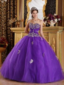 Guadalajara Mexico Appliqued Purple Tulle Quinceanera Gown Dress