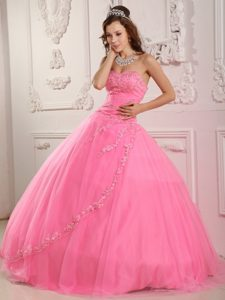 Rose Pink Tulle Sweetheart Quinceanera Dresses with Appliques 2013