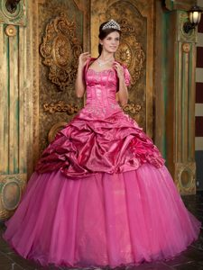 Appliques and Pick ups Accent Quinceanera Dresses in Hot Pink 2013