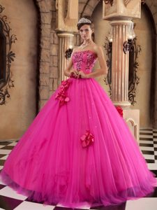 Flowers and Beading Accent Quinceanera Dresses in Hot Pink 2013