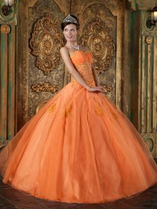 Puebla Mexico Orange Sweetheart Quinceanera Dresses with Appliques