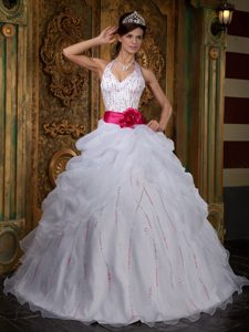 White Halter Beaded Sweet 16 Dresses with Red Sash in Antrim