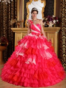 Red One Shoulder Layered Organza Quinceanera Dress in Belfast