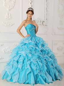 Blue Tiered Ruffles Organza Quinceanera Gown in Carrickfergus