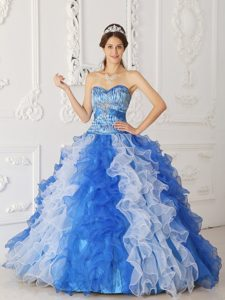 Multi-color Ruffled Organza Dress For Quinceanera in Antrim