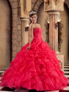 Red Sweetheart Layered Ruffles Organza Quinceanera Dress in Newry
