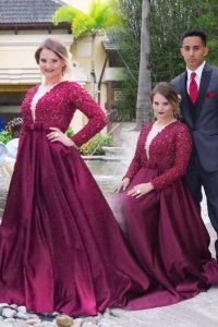 Burgundy A-line Scoop Long Sleeves Satin With Train Sweep Train Zipper Beading Mother Of The Bride Dress