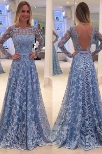 Ideal Blue Mother Of The Bride Dress Prom and For with Lace Scoop Long Sleeves Sweep Train Backless
