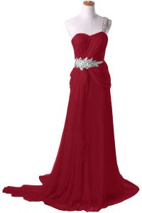 Watteau Train A-line Mother Of The Bride Dress Burgundy One Shoulder Chiffon Sleeveless With Train Zipper