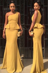 Delicate Mermaid One Shoulder Sleeveless Floor Length Ruching Zipper Mother Of The Bride Dress with Yellow