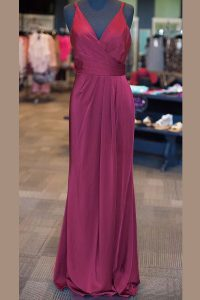 Stunning Sleeveless Floor Length Ruching and Pleated Zipper Mother of Bride Dresses with Burgundy