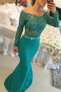Mermaid Off the Shoulder Lace Turquoise Side Zipper Mother Of The Bride Dress Beading Long Sleeves Floor Length