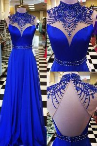 Sweep Train A-line Mother Of The Bride Dress Royal Blue High-neck Chiffon Sleeveless Backless