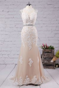 Latest Mermaid Champagne Tulle Backless Scoop Sleeveless With Train Mother Of The Bride Dress Sweep Train Beading and Appliques