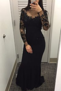 Elegant Black Mermaid Satin Bateau Long Sleeves Beading and Lace Floor Length Zipper Mother Of The Bride Dress