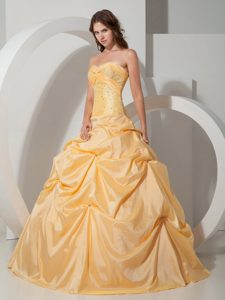 Yellow Beaded Taffeta Pick Ups Dress For Quinceanera in Ballycastle