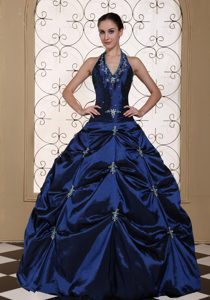 Dark Blue Halter Taffeta Pick Ups Sweet 16 Dresses in Newtownabbey