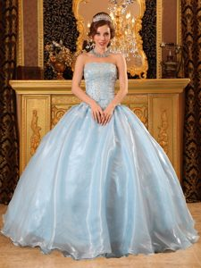 Baby Blue Beaded Dress For Quinceanera For Wholesale in Clifton