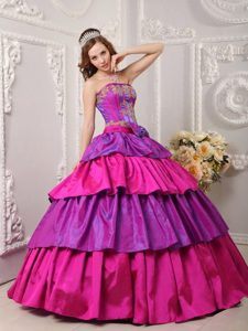 Multi-color Layered Quinceanera Dress with Bowknot in Farnborough