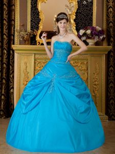 Blue Floor-length Taffeta Appliques Quinceanera Gown in Newtownabbey