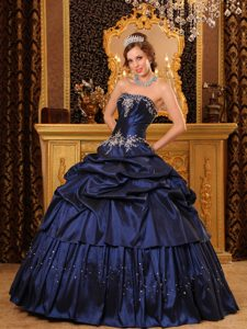 Navy Blue Pick Ups Taffeta Appliques Dress For Quinceanera in Bath