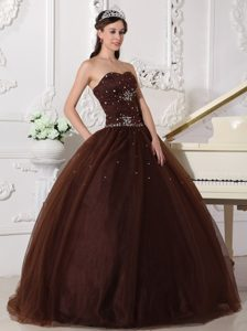 Brown Tulle Dress For Quinceanera with Rhinestone in Belfast