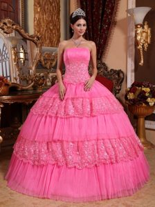 Pink Layered Quinceanera Gown with Appliques and Lace in Clifton