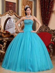 Blue Ball Gown Beaded Ruches Tulle Quinceanera Dresses in Bath